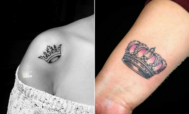 Small Queen Crown Tattoo Designs