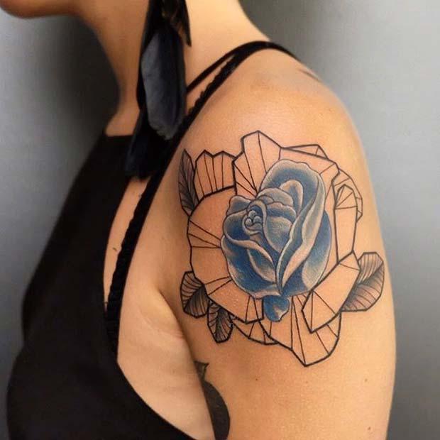 Unique Blue Rose Arm Tattoo Idea
