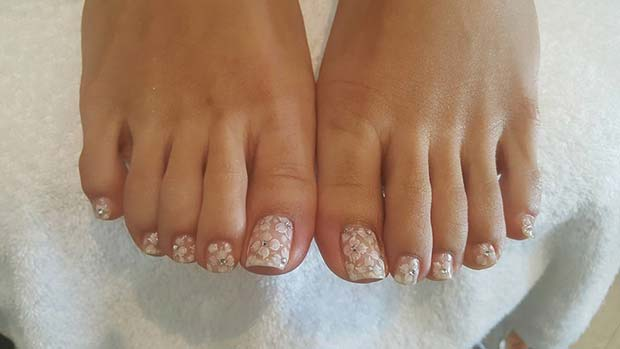 White Floral Nail Art Pedicure with Gems