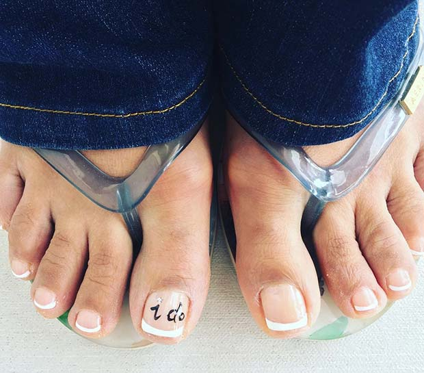 French Pedicure with Say I do Accent Nail