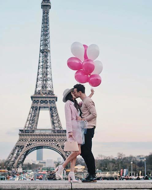 Couple's Photo in the City of Love Paris for Romantic Engagement Photo Idea