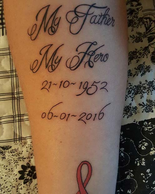 My Father My Hero Memorial Tattoo for Dad