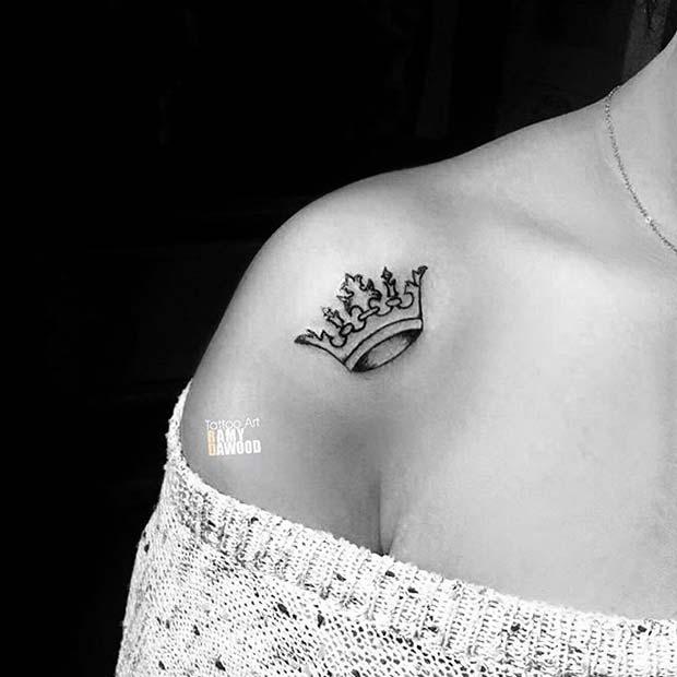 Shoulder Black Crown Tattoo Design Idea for Women