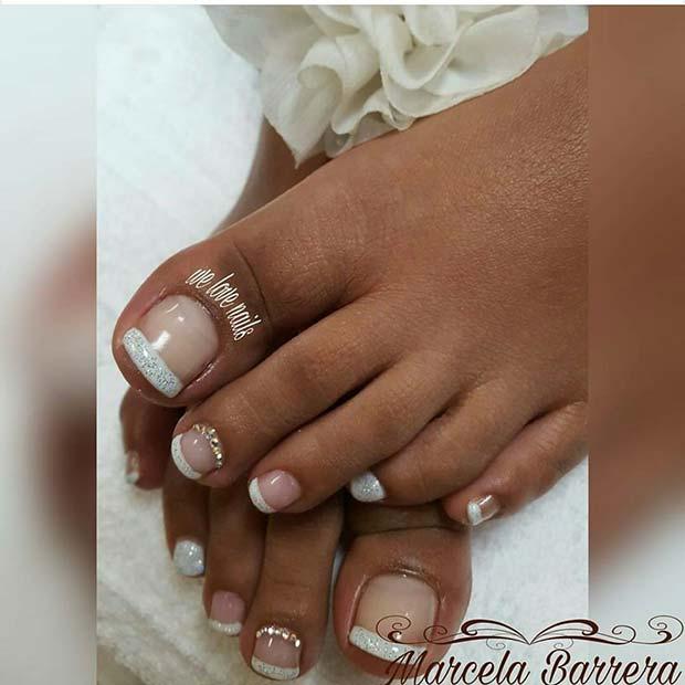 Glitter French Pedicure