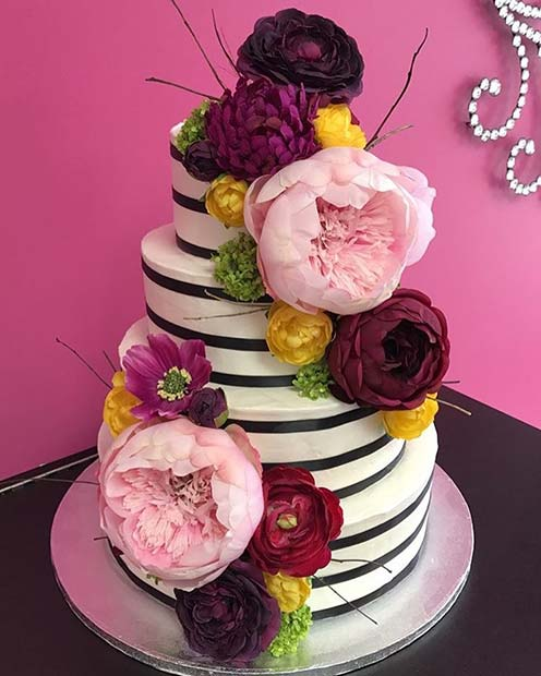 Striped Cake with Bright Blooms for Summer Wedding Cakes