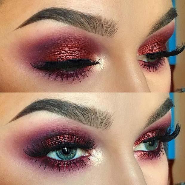 Bold, Burgundy Smokey Eye Makeup Look