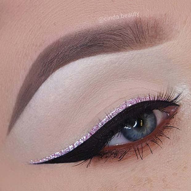 Pink Glitter Winged Liner