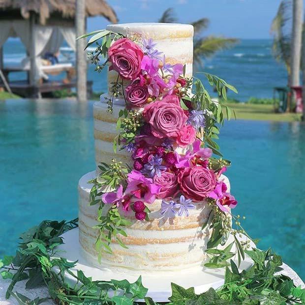 Beach Bloom Summer Wedding Cake