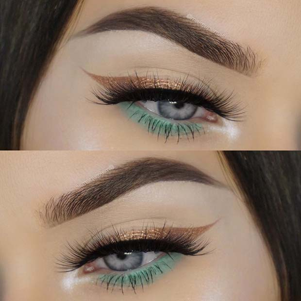 Gold and Green Eye Makeup Look for Summer