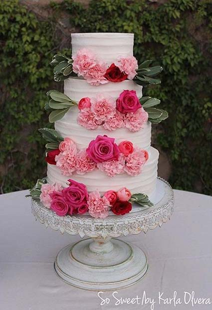 Beautiful White Cake with Red and Pink Blooms for Summer Wedding Cakes