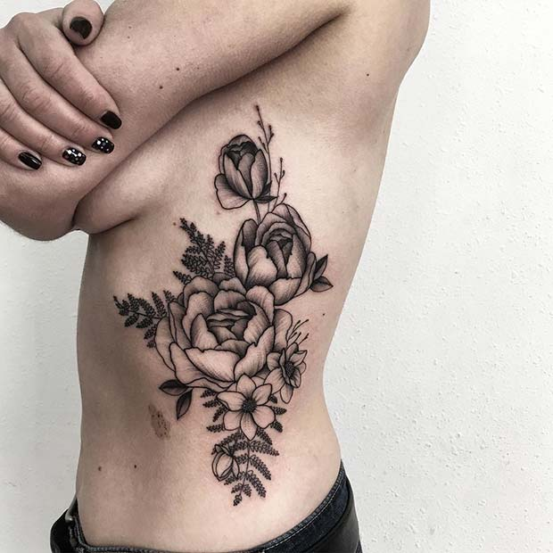 Rose Rib Tattoo Badass Tattoo for Women