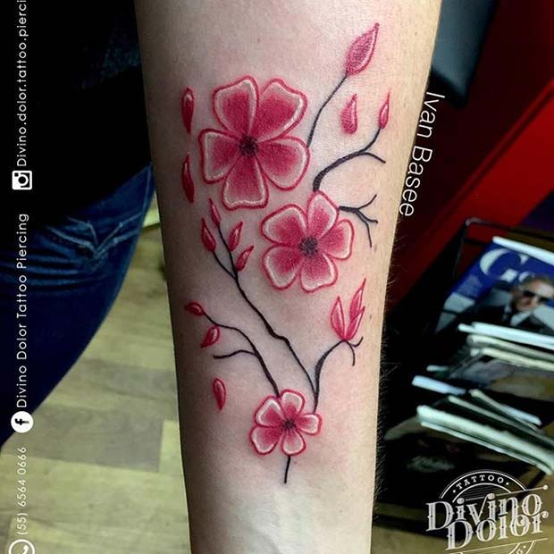 Bold Pink Flower Tattoo for Flower Tattoo Ideas for Women