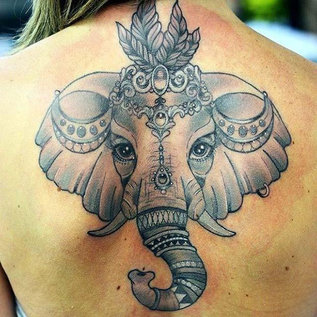 Bold Elephant Back Tattoo