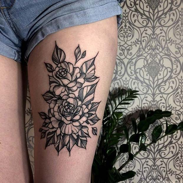 Rose Thigh Tattoo for Flower Tattoo Ideas for Women