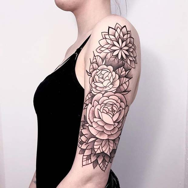 Floral Half Sleeve Tattoo for Flower Tattoo Ideas for Women