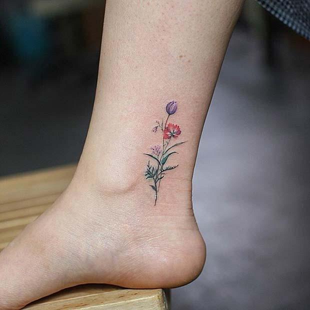 Dainty Flower Ankle Design for Flower Tattoo Ideas for Women