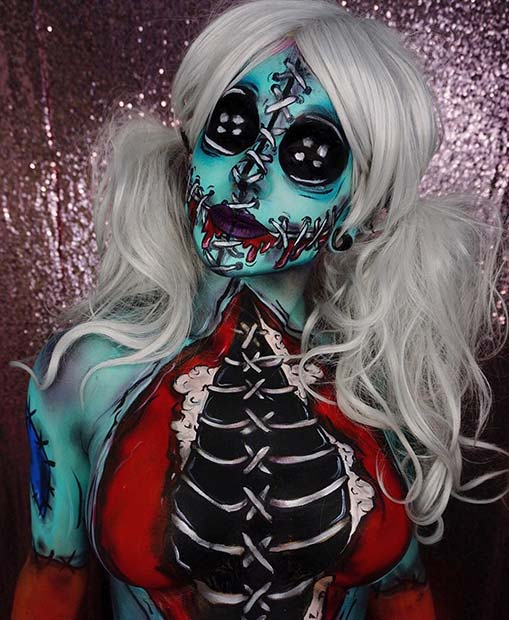 Doll with Stitches Halloween Makeup Look