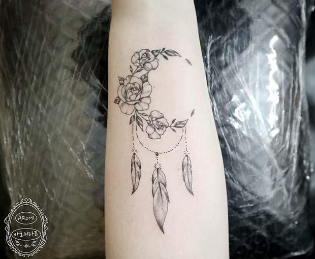 Creative Half Moon Dream Catcher Tattoo Design