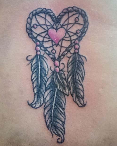 Cute Heart Dream Catcher Tattoo Idea