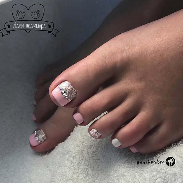 Elegant Lace Toe Nail Design with Sparkle