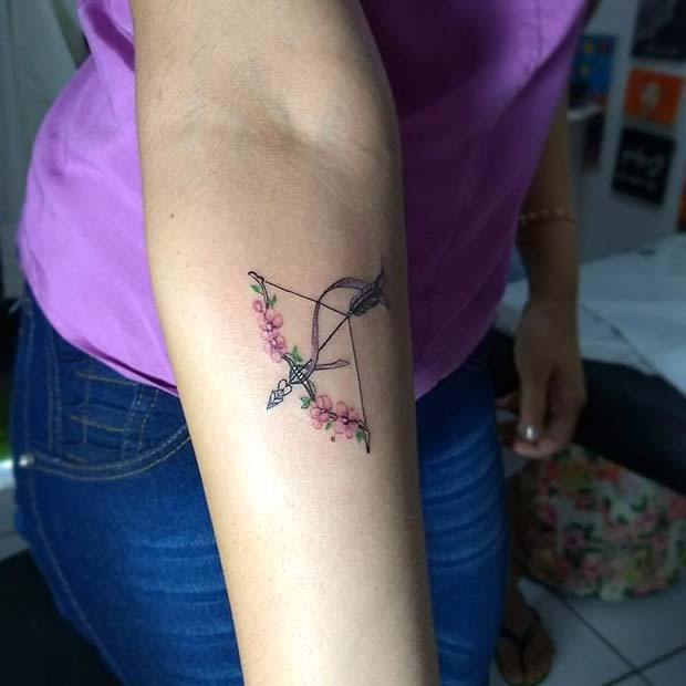 Floral Bow and Arrow Tattoo Design