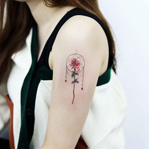 Pretty Rose Dream Catcher Tattoo Design