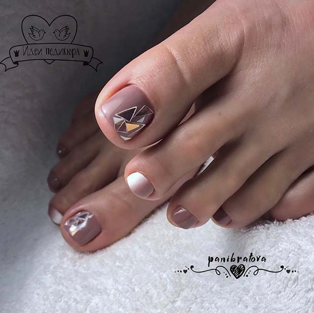 Shattered Glass Toe Nail Design