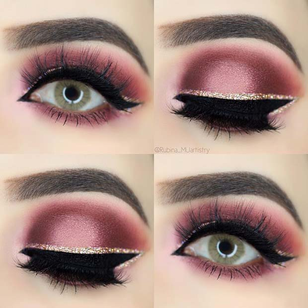 Pretty Burgundy Eye Makeup with Gold Glitter