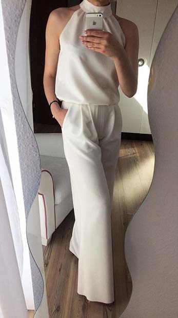 Smart All White Jumpsuit Outfit