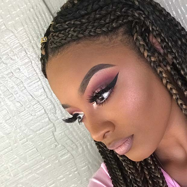 Burgundy and Pink Eye Makeup Idea for Black Girls