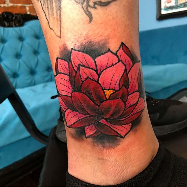 Vibrant Lotus Tattoo Design