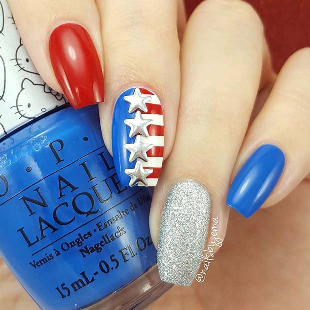 4th of July Nail Design for Long Nails