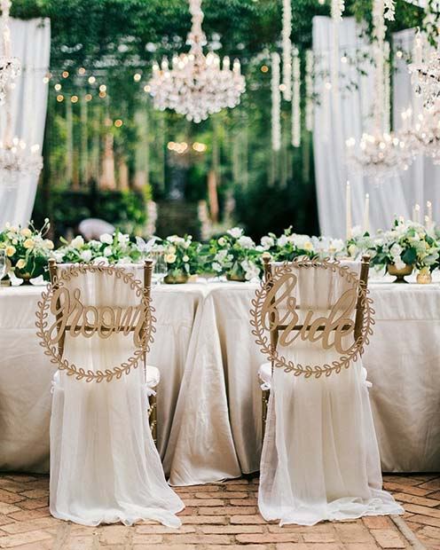 Beautiful Bride and Groom Chairs