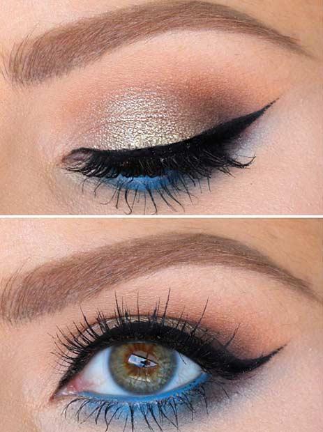 Blue Lower Lash Line Makeup