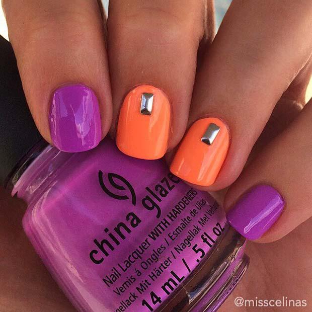 Bold Orange and Purple Nail Idea