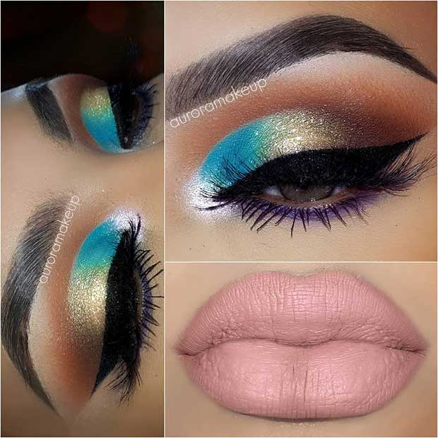 Colorful Eyes and Nude Lips