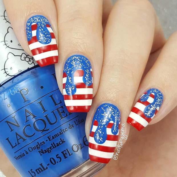 Creative Drip 4th of July Nails