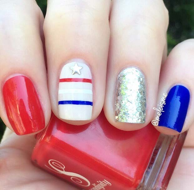 Simple 4th of July Nail Design for Short Nails
