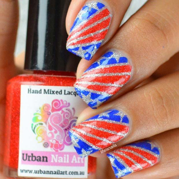 Glitter Flag Nails for the Fourth of July