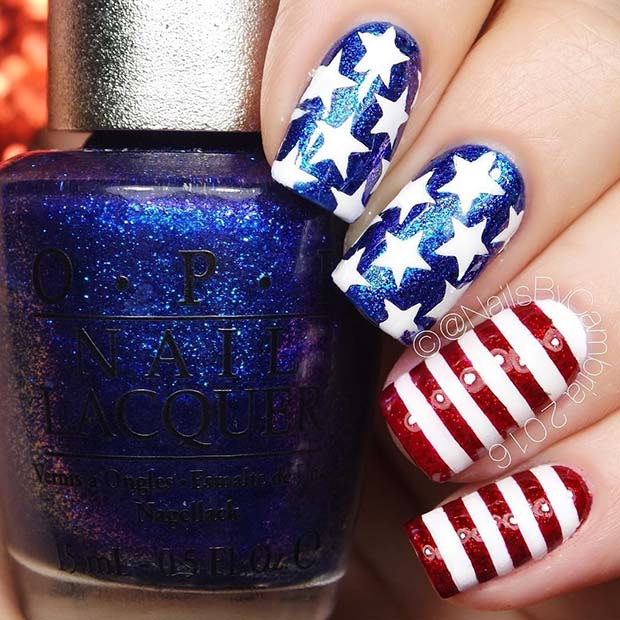 Glitter 4th of July Nails