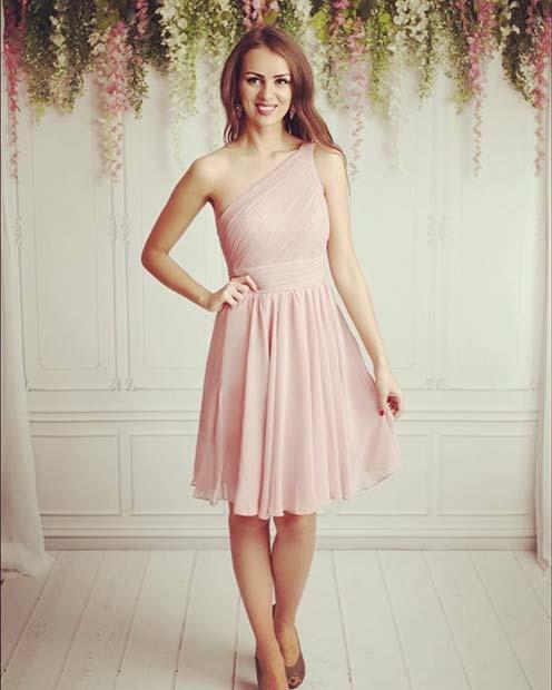Gorgeous One Shoulder Dress Outfit Idea
