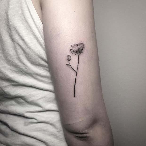 Simple Poppy Tattoo Design