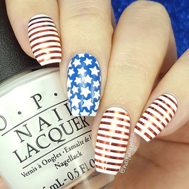 Cute Stars and Stripes Nails