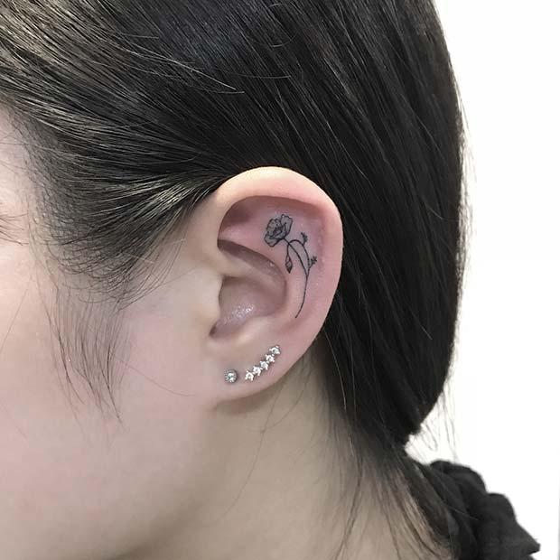 21 Trendy Poppy Tattoo Ideas for Women | Small Poppy Ear Tattoo Idea