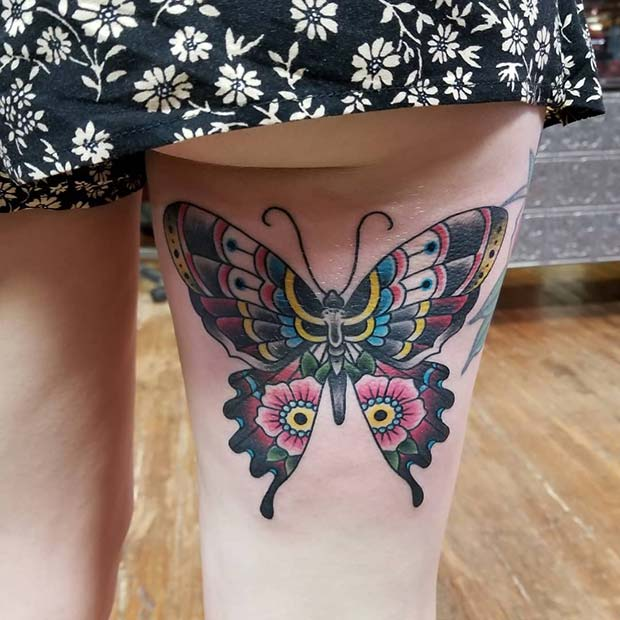 Colorful Butterfly Back of Thigh Tattoo