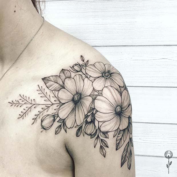 b81dd7ac0 21 Most Beautiful Shoulder Tattoos for Women - crazyforus