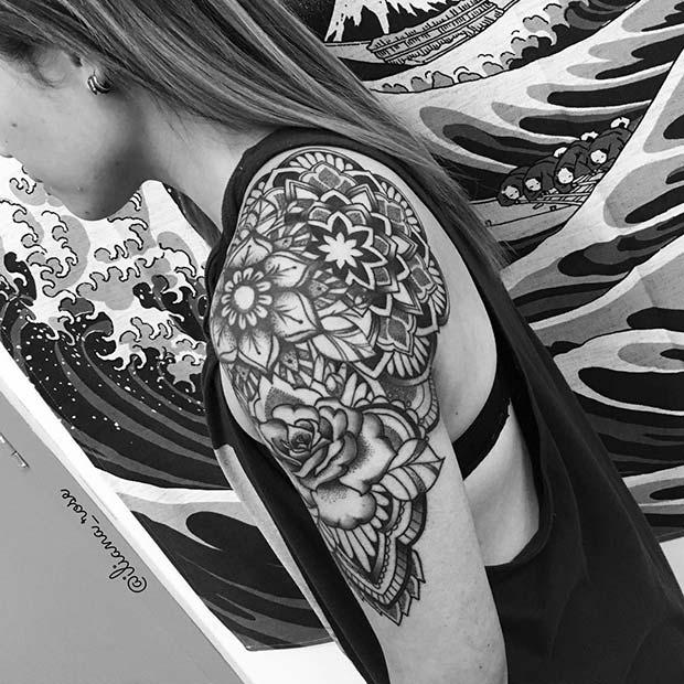 Badass Shoulder Tattoo Idea for Women