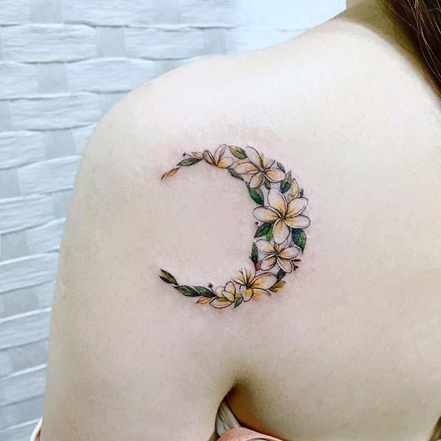 Pretty Floral Moon Tattoo Design