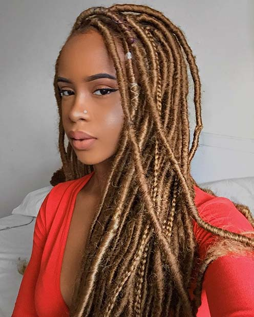Summery Gold Faux Locs