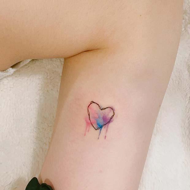 Artistic Watercolor Heart Tattoo Idea